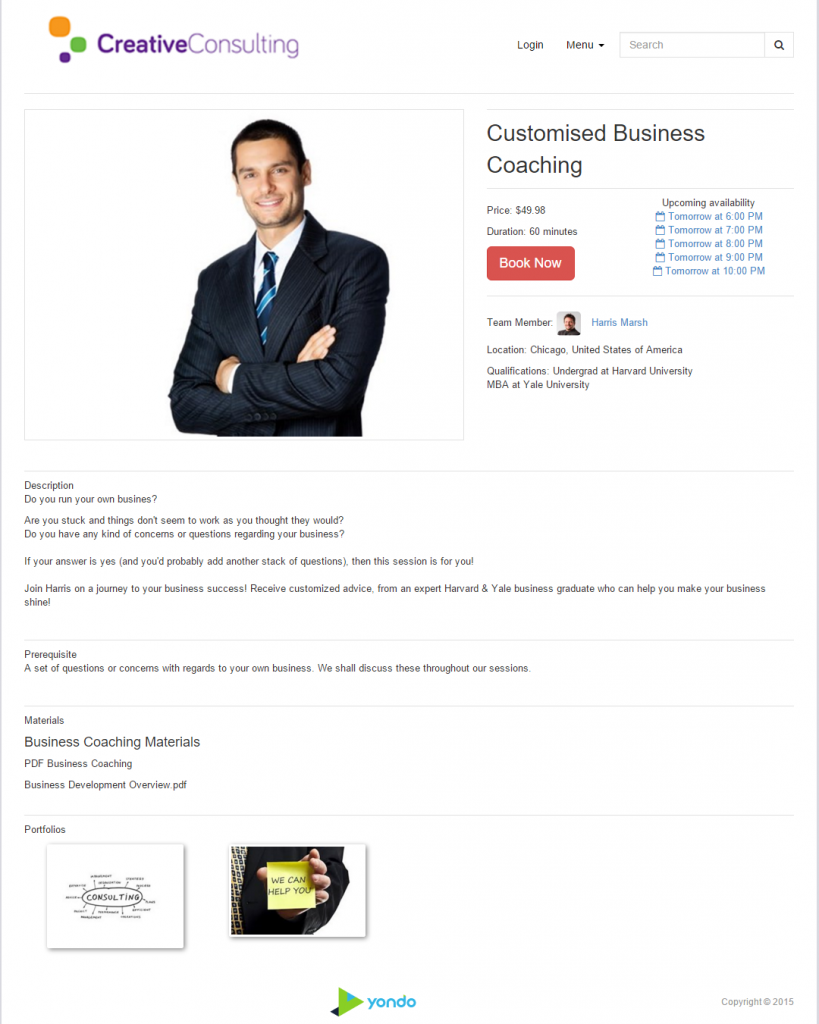 consulting landing page