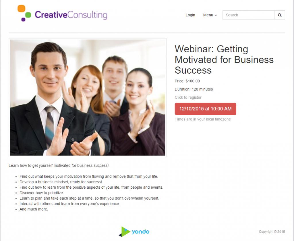 webinar landing page vonsulting