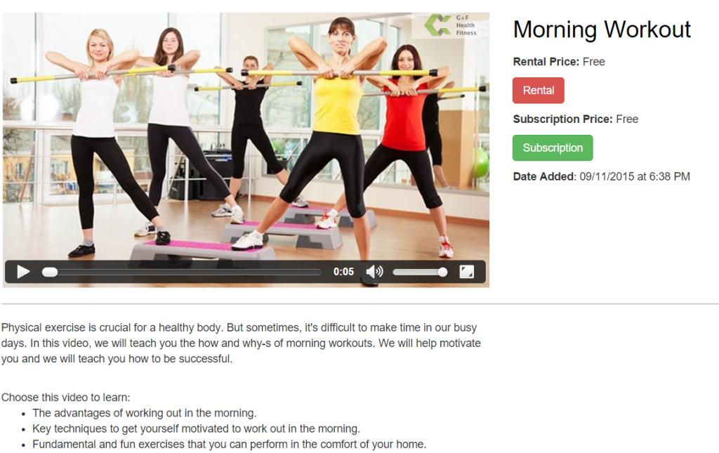 fitness video on demand landing page