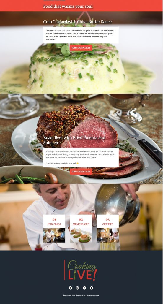 Cooking Live Email Marketing Example Image